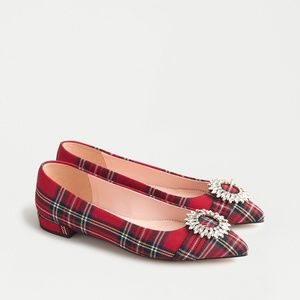 New JCREW Pointed-toe flat in Red Stewart Tartan